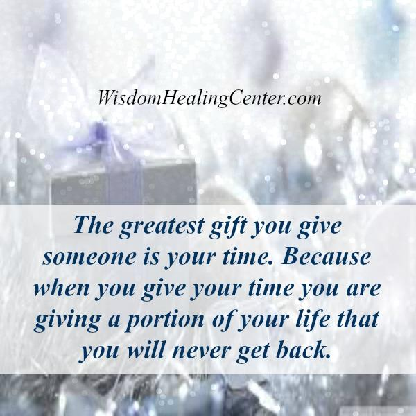 Give a portion of your life to someone